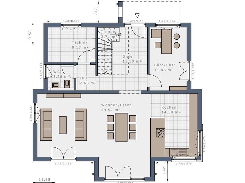 Grundriss Erdgeschoss E 175 E1 Mannheim von Schwabenhaus