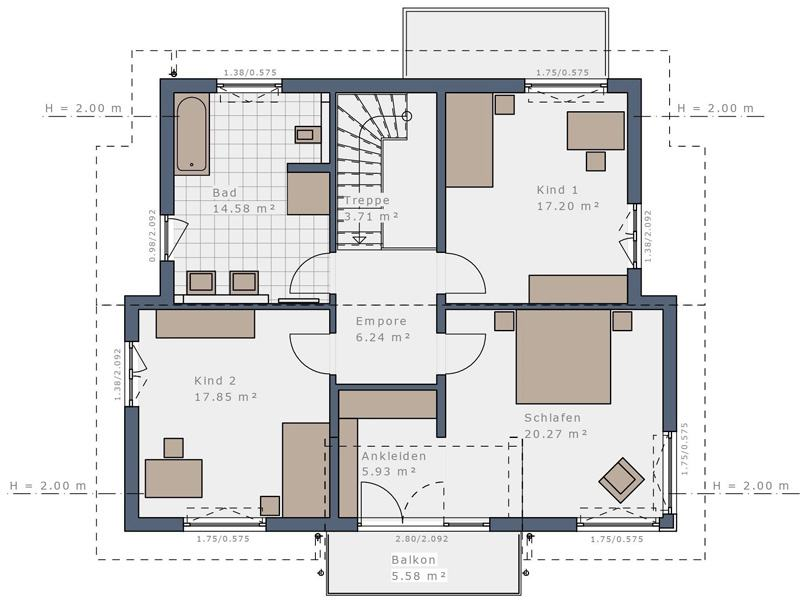 Grundriss Obergeschoss E 175 E1 Mannheim von Schwabenhaus