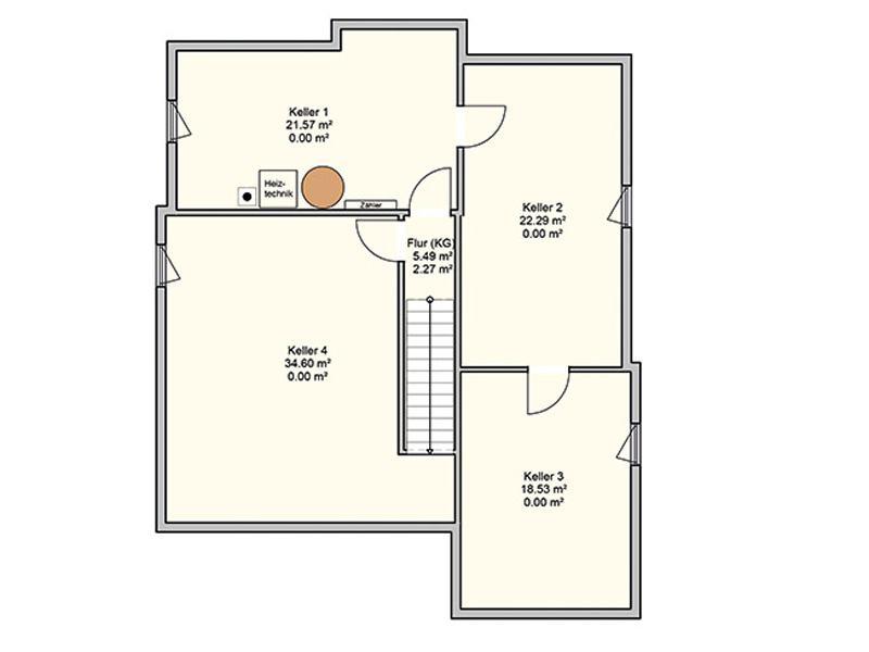 Grundriss Kellergeschoss Entwurf Bela von Fingerhuthaus