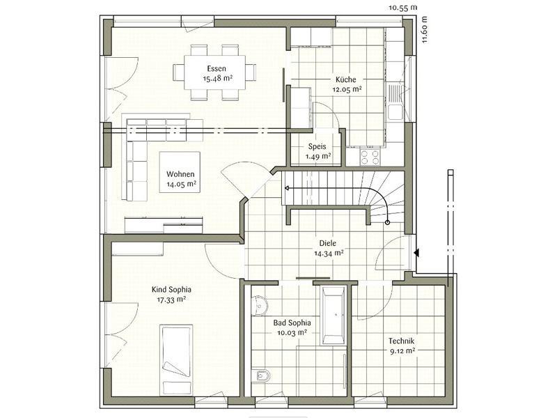 Grundriss Erdgeschoss Klassisch Sophia von Fischerhaus