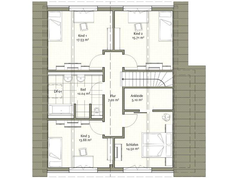 Grundriss Dachgeschoss Klassisch Sophia von Fischerhaus