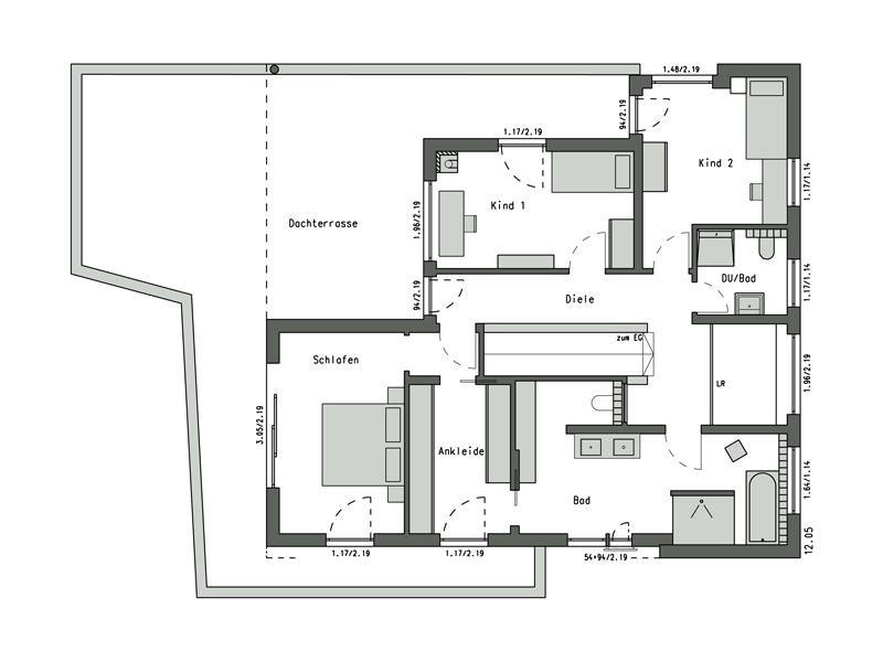 Grundriss Dachgeschoss Design-Villa am Weinberg von Schwörerhaus