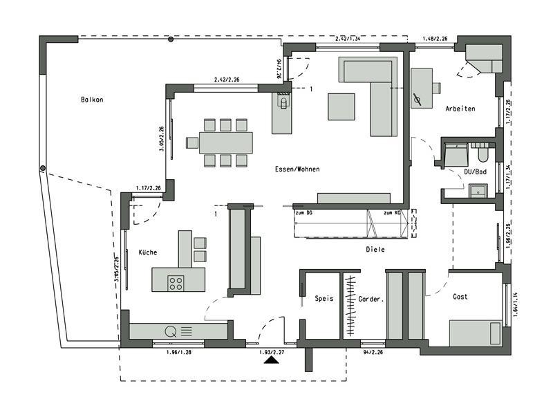 Grundriss Erdgeschoss Design-Villa am Weinberg von Schwörerhaus