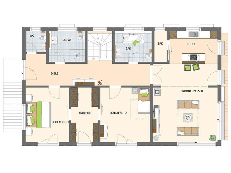 Grundriss Erdgeschoss arbeiten-wohnen-frei-geplantes-kundenhaus-von-fingerhaus