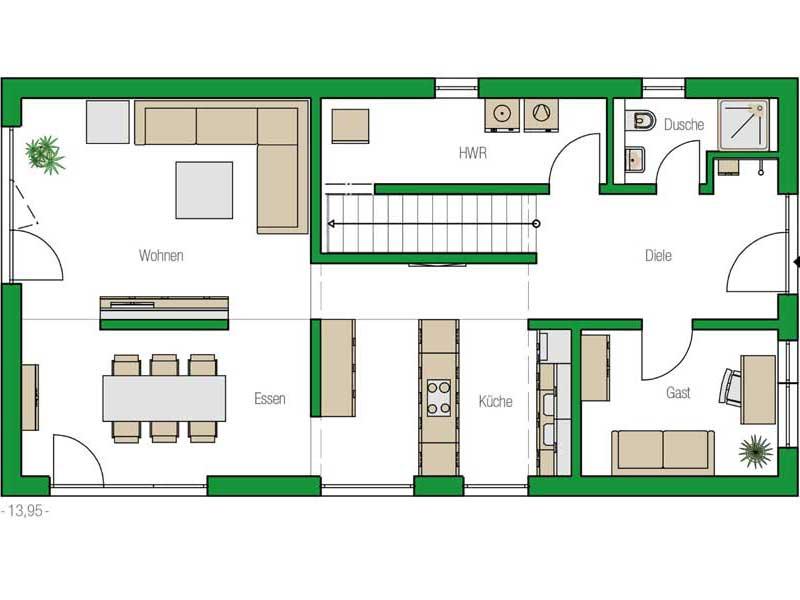 Grundriss Erdgeschoss Haus Nuernberg von Helma