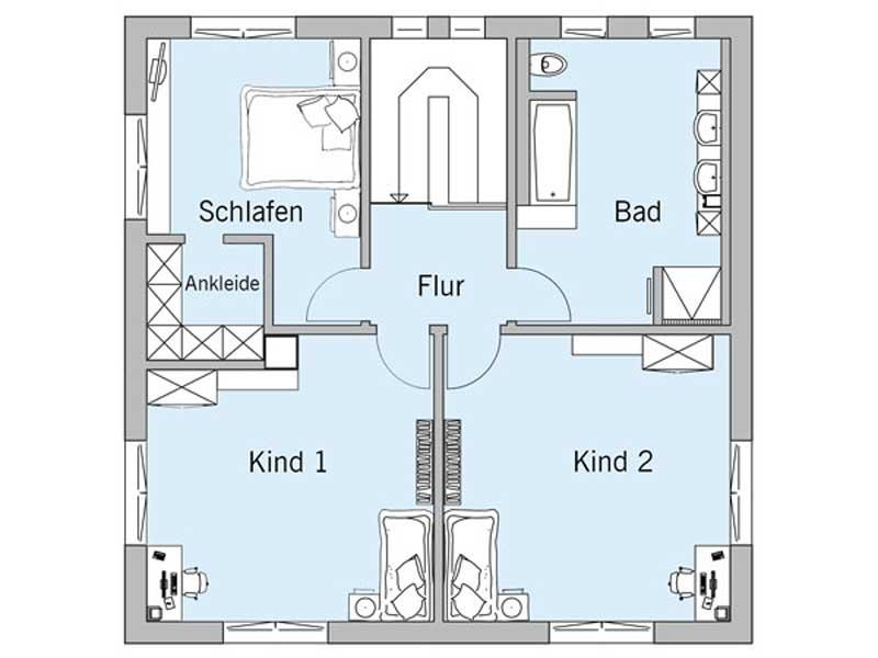 Grundriss Dachgeschoss Haus Bongart von Baufritz