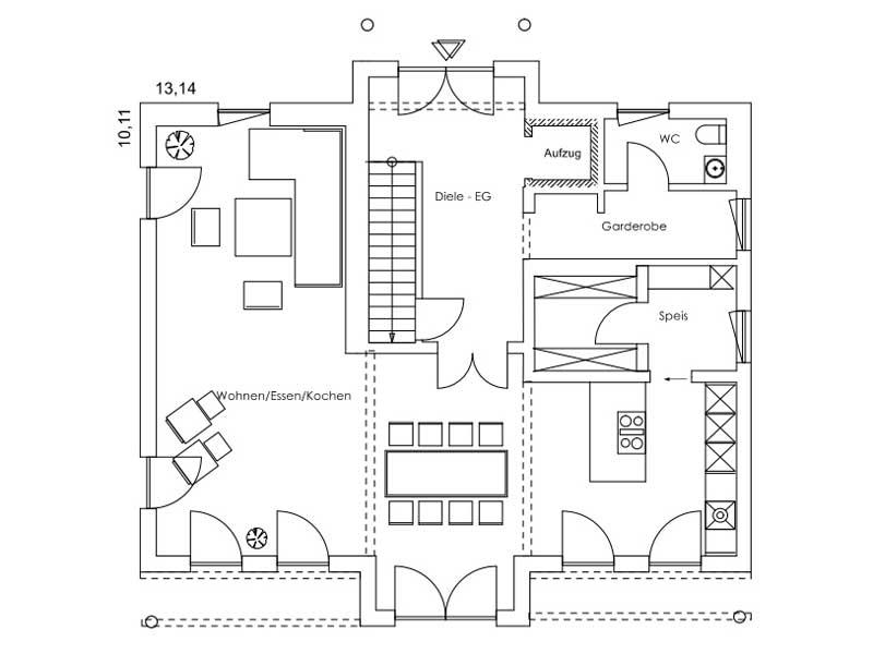 Grundriss Erdgeschoss Vitalhaus Albaching von Regnauer