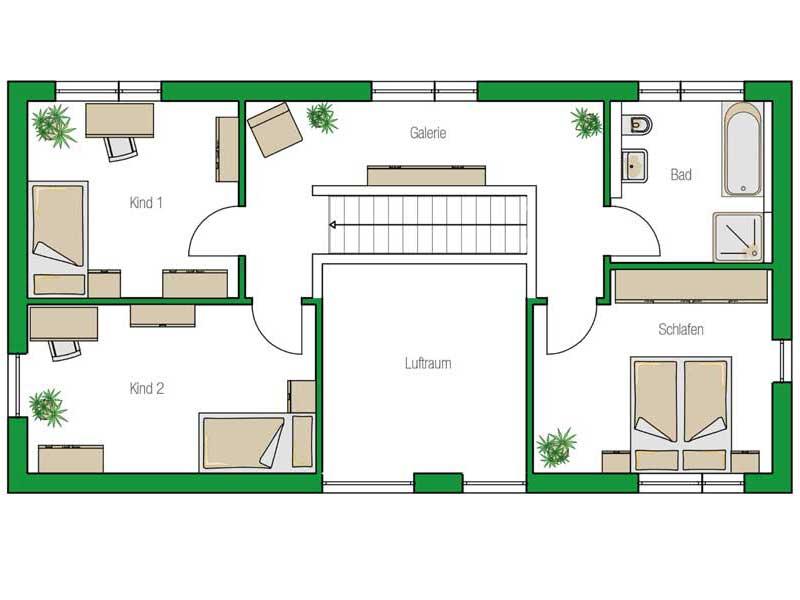 Grundriss Obergeschoss Haus Nuernberg von Helma