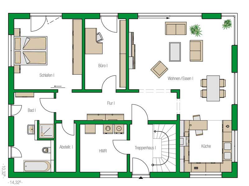 Grundriss Erdgeschoss Haus Venlo von Helma