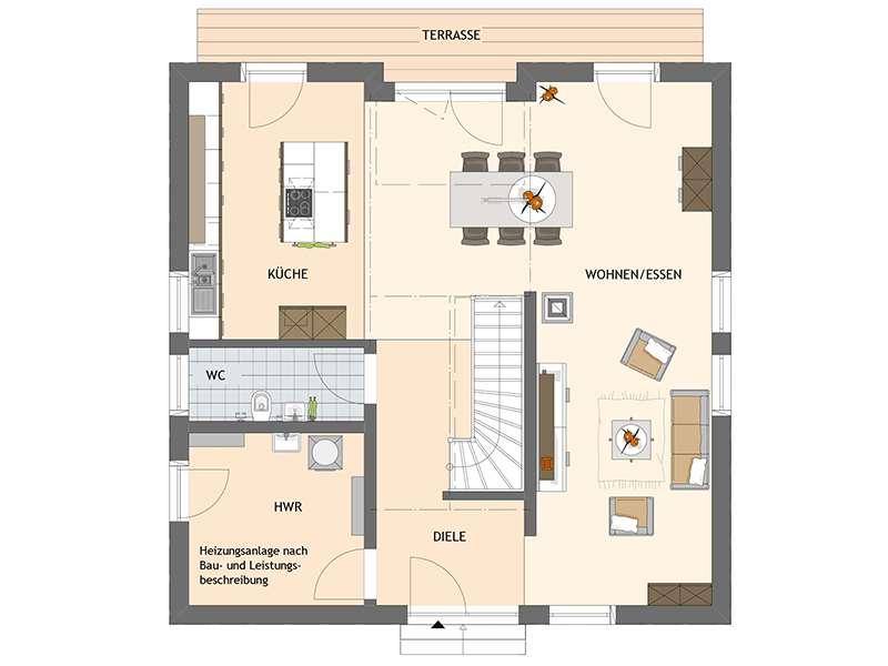 Grundriss Erdgeschoss Entwurf Bravur 400 von Fingerhaus
