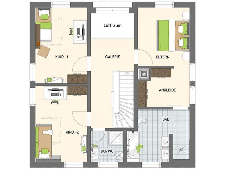 Grundriss Obergeschoss Entwurf Bravur 400 von Fingerhaus