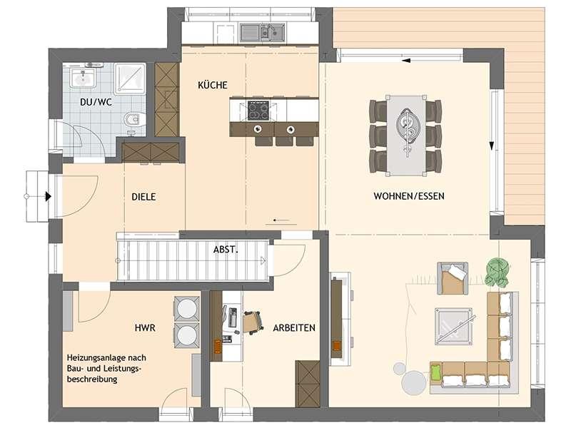 Grundriss Erdgeschoss Edles Einfamilienhaus - frei geplant von Fingerhaus
