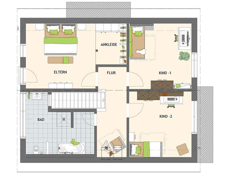 Grundriss Obergeschoss Edles Einfamilienhaus - frei geplant von Fingerhaus