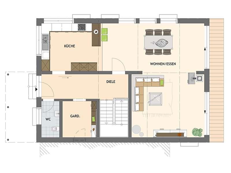 Grundriss Erdgeschoss Familienhaus nach Wunsch von Fingerhaus