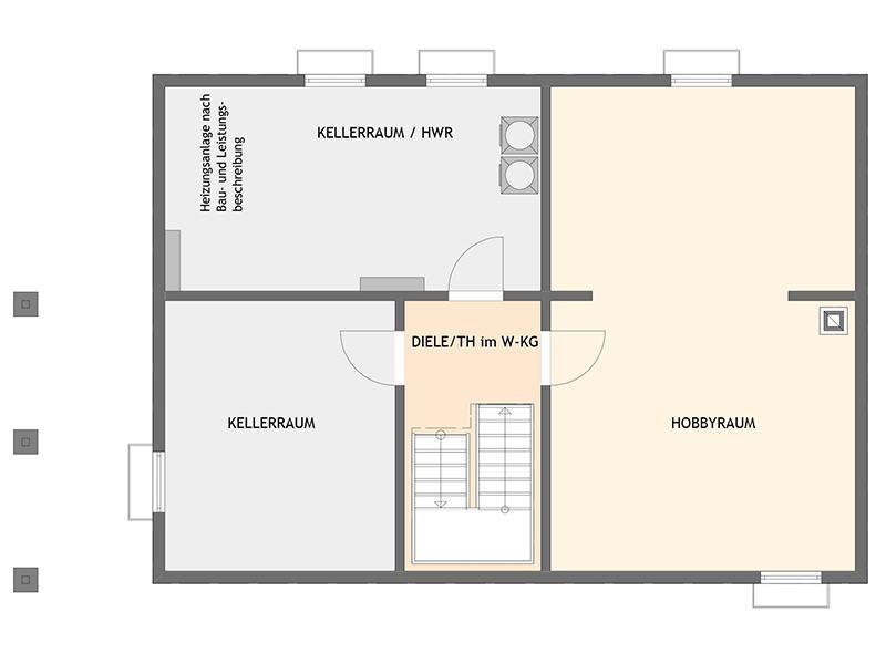 Grundriss Kellergeschoss Familienhaus nach Wunsch von Fingerhaus