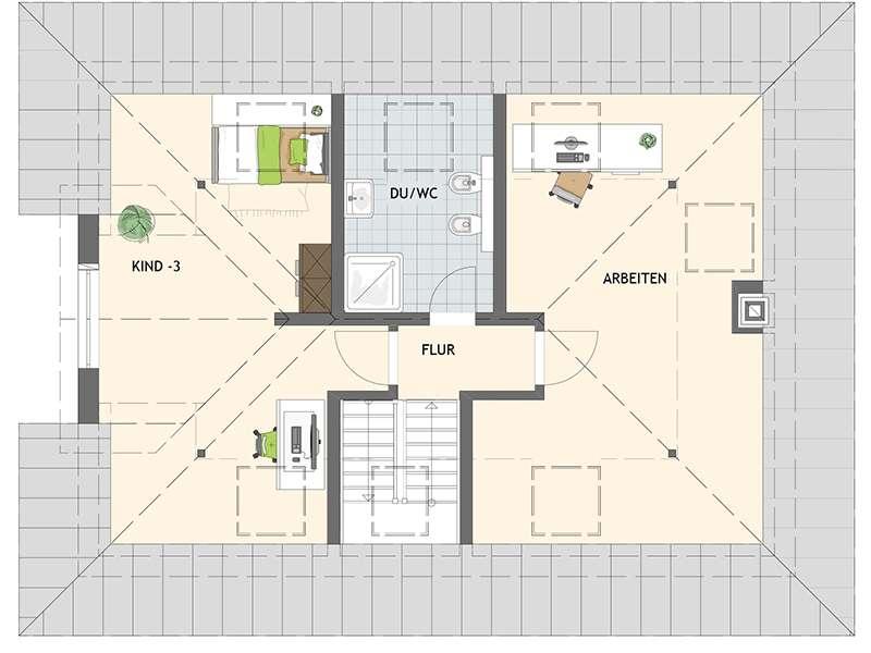 Grundriss Dachgeschoss Familienhaus nach Wunsch von Fingerhaus