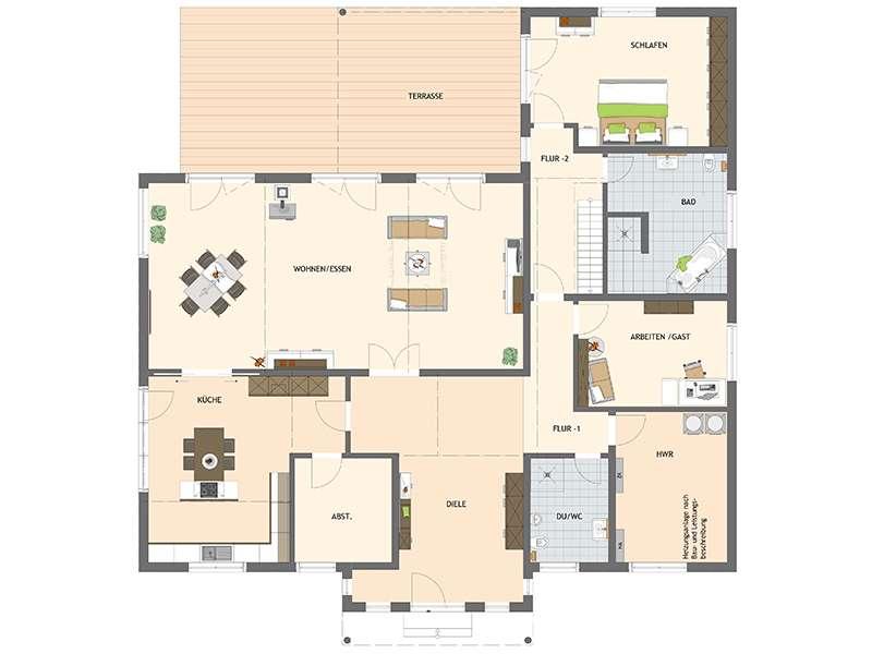 Grundriss Erdgeschoss frei geplant komfortables Wohnen von Fingerhaus