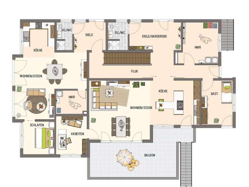 Grundriss Erdgeschoss Mehrgenerationenhaus der Extraklasse von Fingerhaus
