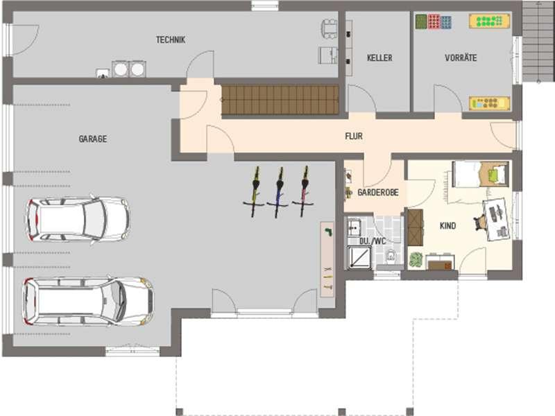 Grundriss Kellergeschoss Mehrgenerationenhaus der Extraklasse von Fingerhaus
