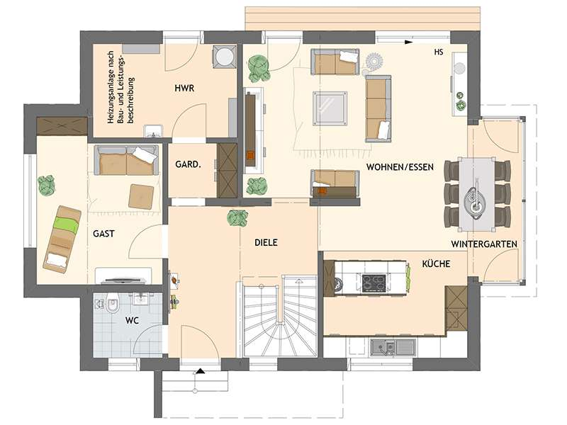 Grundriss Erdgeschoss Medley 3.0 in Poing von Fingerhaus