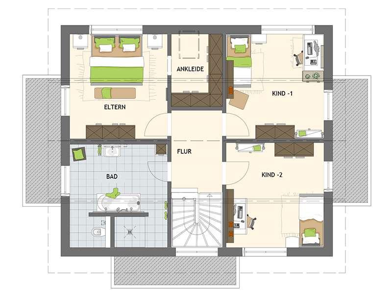 Grundriss Dachgeschoss Medley 3.0 in Poing von Fingerhaus