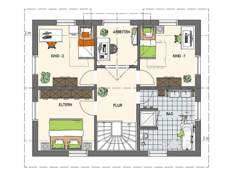 Grundriss Dachgeschoss Musterhaus UNO 2.0 in Leipzig von Fingerhaus