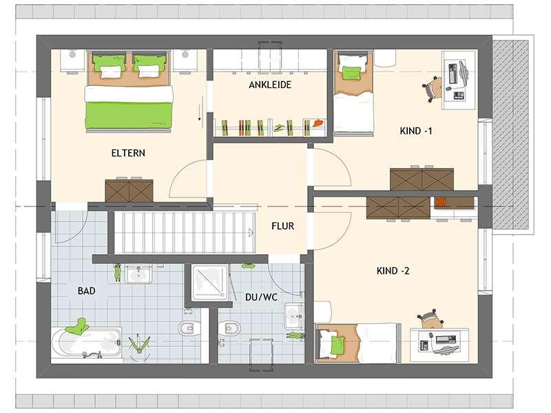Grundriss Dachgeschoss NEO 211 von Fingerhaus