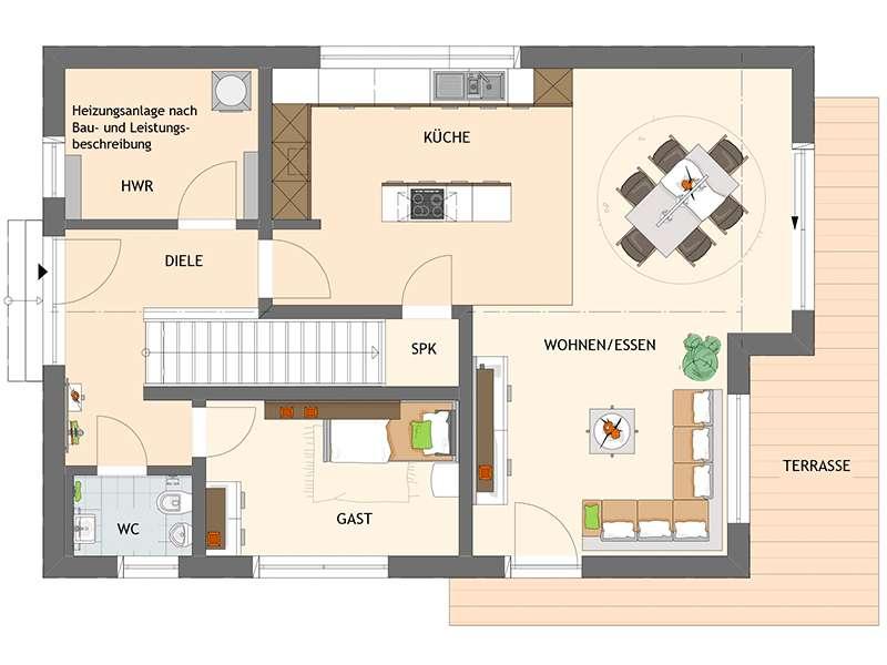 Grundriss Erdgeschoss NEO 211 von Fingerhaus