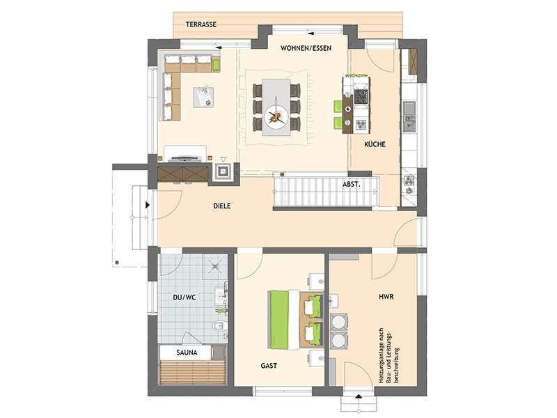 Grundriss Erdgeschoss frei geplantes Kundenhaus von Fingerhaus