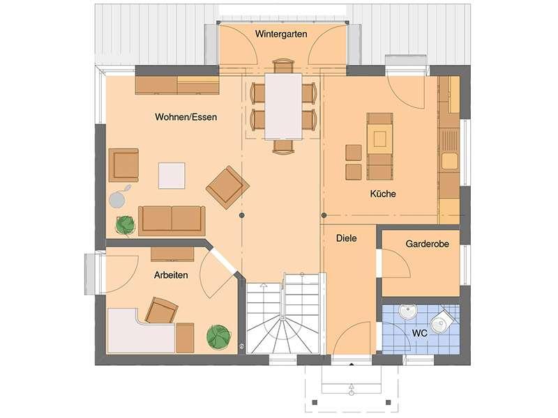 Grundriss Erdgeschoss VIO von Fingerhaus