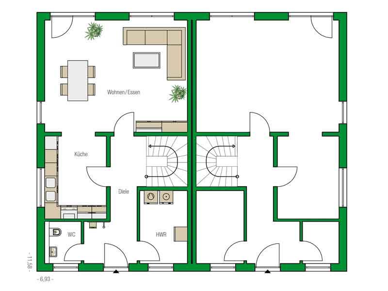 Grundriss Erdgeschoss Doppelhaus Glasgow von Helma