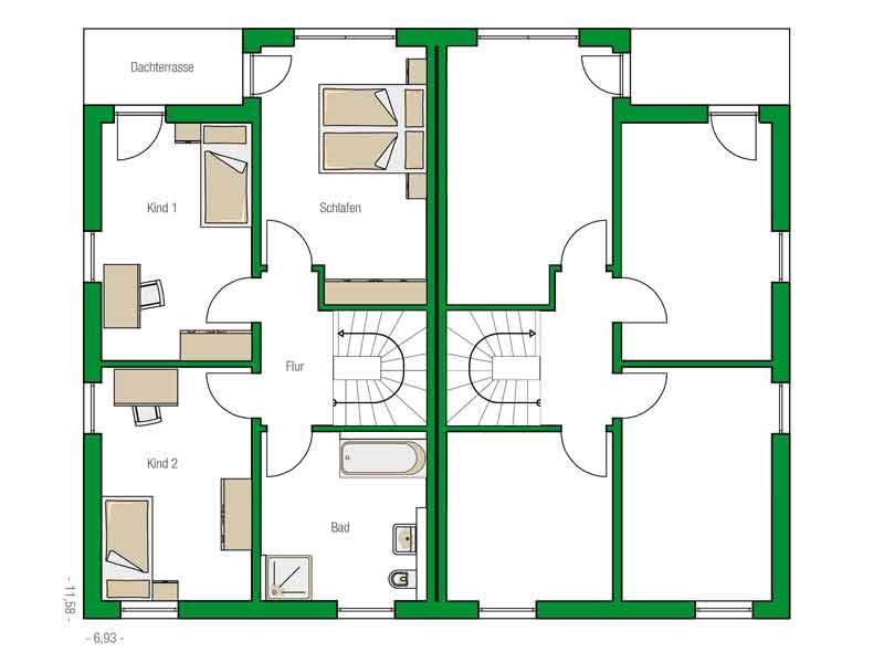 Grundriss Obergeschoss Doppelhaus Glasgow von Helma