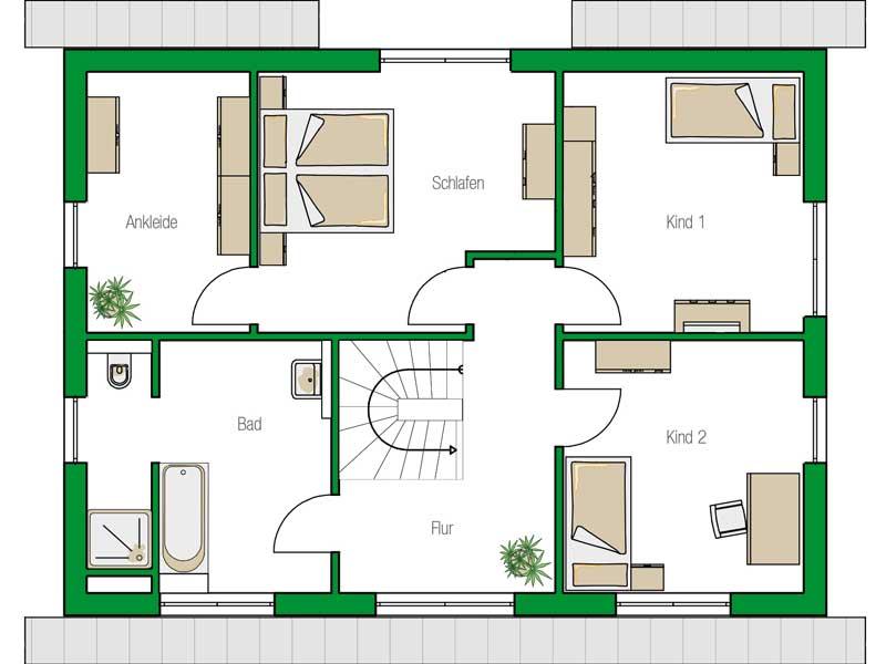 Grundriss Obergeschoss Trient Variante von Helma