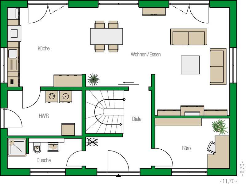 Grundriss Erdgeschoss Trient Variante von Helma