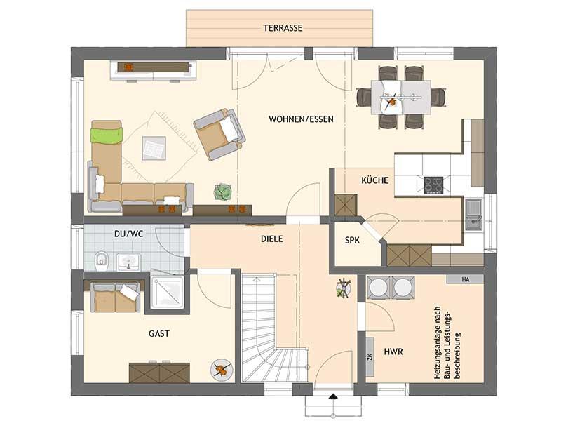 Grundriss Erdgeschoss VIO 420 von Fingerhaus