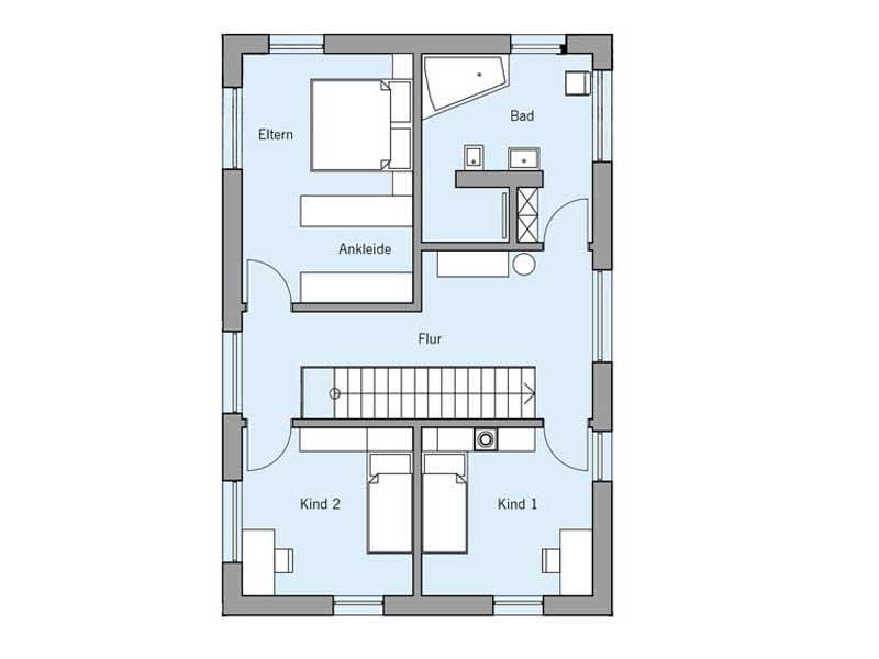 Grundriss Dachgeschoss Haus Remiger von Baufritz