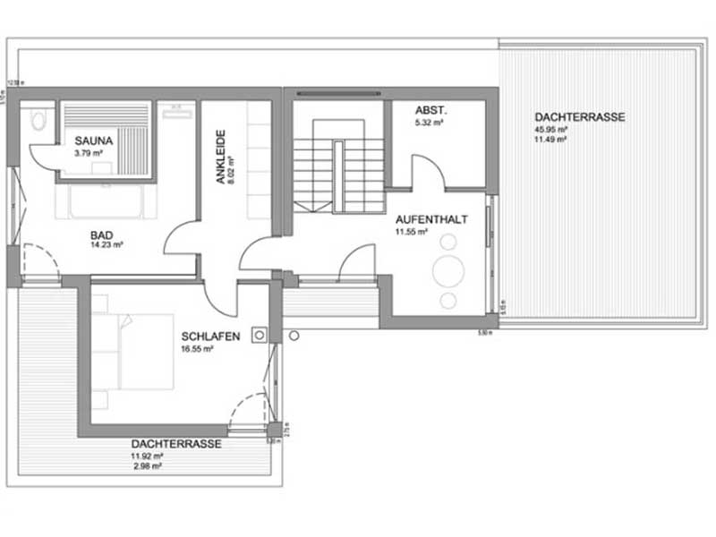 Grundriss Dachgeschoss Flachdach 283 von Luxhaus