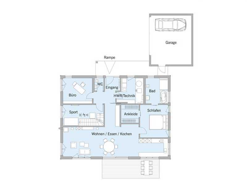Grundriss Erdgeschoss Haus Schweiger von Baufritz