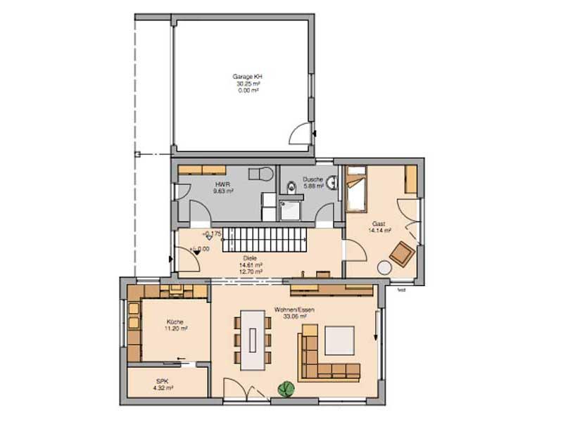 Grundriss Erdgeschoss Bauhaus Futura von Kern-Haus
