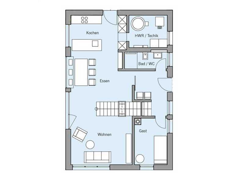 Grundriss Erdgeschoss Haus Remiger von Baufritz