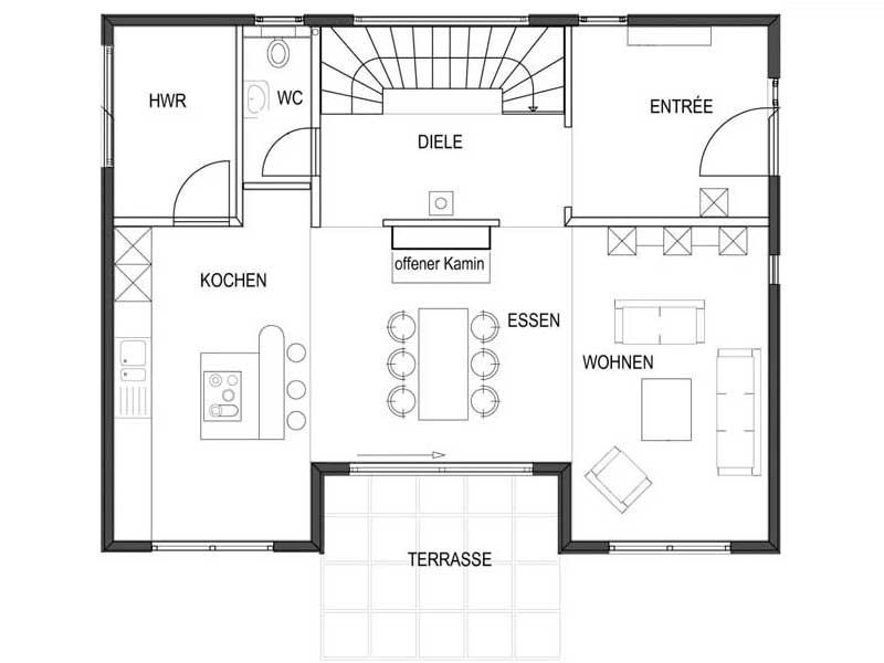 Grundriss Erdgeschoss Musterhaus Suhr von Bodenseehaus