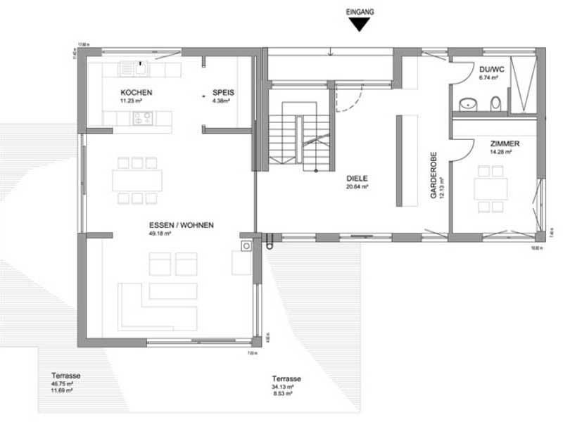 Grundriss Erdgeschoss Flachdach 283 von Luxhaus