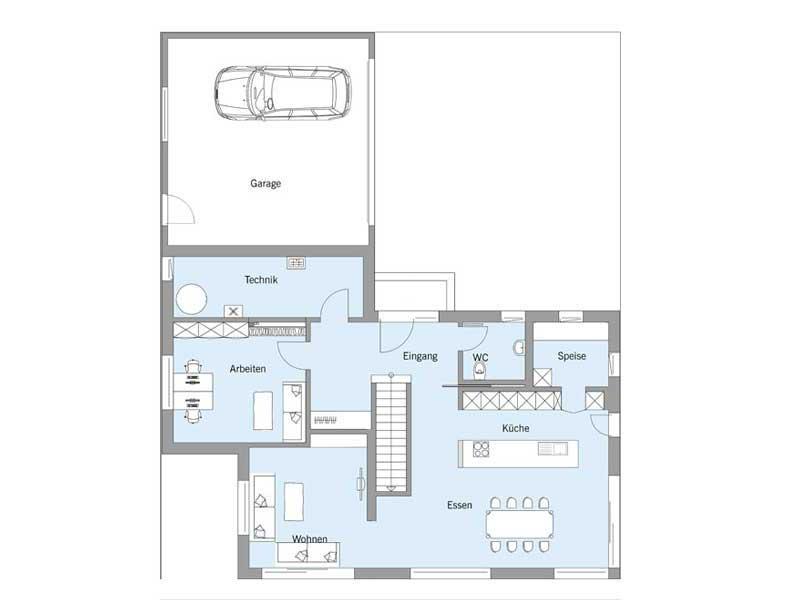 Grundriss Erdgeschoss Haus Gruber von Baufritz