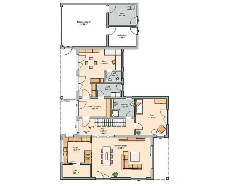 Grundriss Erdgeschoss Entwurf Ixeo von Kern-Haus