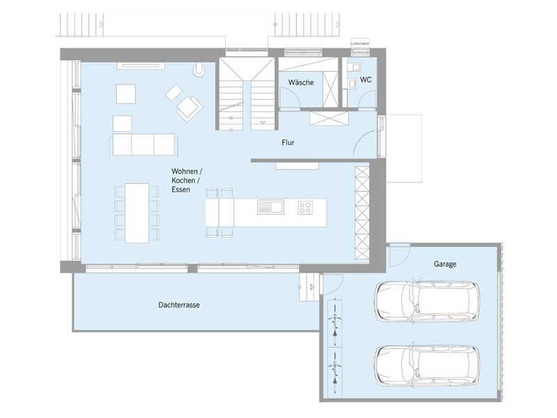 Grundriss Erdgeschoss Haus Steffen von Baufritz