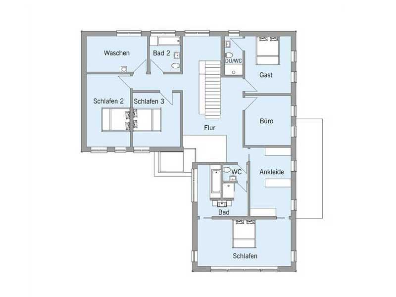 Grundriss Obergeschoss Weald House von Baufritz