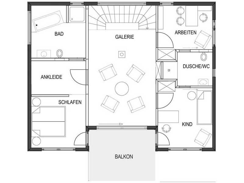 Grundriss Obergeschoss Musterhaus Suhr von Bodenseehaus