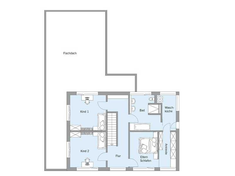 Grundriss Obergeschoss Haus Gruber von Baufritz