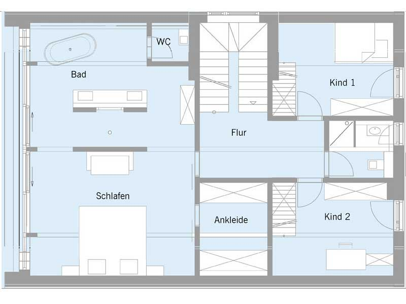 Grundriss Obergeschoss Haus Steffen von Baufritz