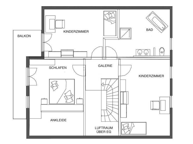 Grundriss Dachgeschoss Landhaus von Bodenseehaus